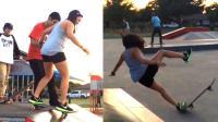 【小V精选】美女玩起滑板来还是很欢乐的, 只是摔的有点疼!