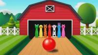 亮亮玩具学习颜色, 彩球保龄球动画学英语, 婴幼儿宝宝亲子早教育儿过家家游戏视频665