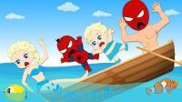 艾莎公主用魔法棒给小蜘蛛侠变出彩色气球 蜘蛛侠和艾莎公主