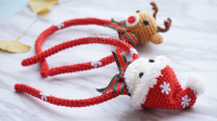 「第111集」萌系手作 钩针圣诞套装发箍配件视频教程钩针小物玩偶