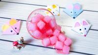好玩的亲子游戏, 用海绵和水晶泥混合, 做成超美的草莓椰果史莱姆