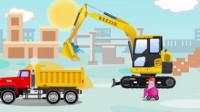 挖掘机视频表演:挖掘机闯进赛车道里参加赛车,挖掘机救出卡在危桥中央的水泥搅拌车