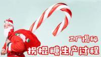 """工厂实拍, 圣诞节的""""拐棍糖""""原来是这么做出来的!"""