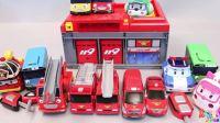 【变形警车珀利2018】119消防车引擎泰路巴士警车珀利变形汽车玩具