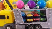 【变形警车珀利2018】施工现场玩具泰路巴士和珀利警车惊喜蛋MM豆装载卡车