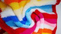 织一片慢生活珊瑚绒条纹彩虹毯子