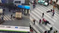 监拍货车斑马线连续撞压3人 热心市民合力抬车救援