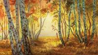 逆光森林-讲解版 水彩绘画白桦林过程