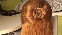 半披肩发也可以如此漂亮, 花形半丸子头盘发, 真是让女孩们喜欢