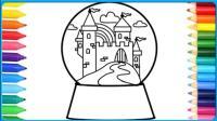 创意彩绘简笔画城堡水晶球 魔法水晶球还会唱好听的歌哦  小猪佩奇 小黄人  蜘蛛侠