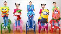 家庭儿歌童谣! 五个小宝宝抱着卡通气球跳舞