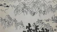 5小时学会国画线描山水, 画出五岳图: 中岳嵩山细节图(完稿)