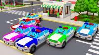 警车消防车挖土机拉炮仗得到彩色的礼物 3D动画早教