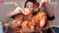 韩国大胃王欧尼吃超大扇贝, 这贝壳有多少肉呢? 这次又吃不饱了吧?