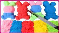 创意制作彩虹太空沙粘土兔子 亲子游戏兔子是彩虹色的