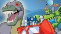 《新救援汽车人冲刺第58期 恐龙和火山巨炮》儿童游戏 糯米解说