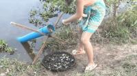 美女用PVC管制作捕鱼器, 这种捕鱼陷阱还是第一见