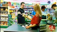 国外恶搞: 遇到超市美女收银挑逗会怎么办, 呵, 男人