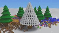 亮亮玩具汽车学习颜色, 彩球圣诞树动画学英语, 婴幼儿宝宝亲子早教育儿过家家游戏视频