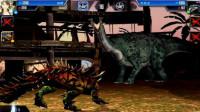 侏罗纪世界游戏甲梁龙对战猪鳄恐龙公园筱白解说