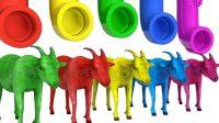 儿童学习英语 山羊形状球水果卡通童谣歌曲 五只小猴子在床上跳跃 【俊和他的玩具们