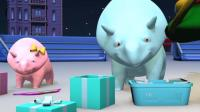 幼儿早教动漫: 跟恐龙戴诺一起搅拌机里的彩色圆球装进不同颜色的箱子