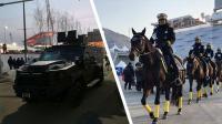 直击平昌冬奥会 开幕式已进入倒计时 骑警装甲车齐亮相