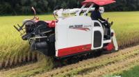 日本农村收割水稻, 这种收割机的功能真强大, 一人一天能收20亩地