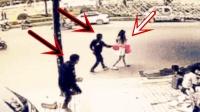粉裙女孩走在马路上只顾低头玩手机, 接下来一幕让她万万没想到!