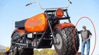 世界上最大的摩托车, 1.9米的壮汉还没轮子高, 开起来霸气十足