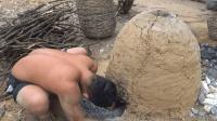 生存哥徒手烧制大量石灰, 真正的原始技术