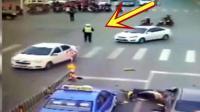 十字路口最诡异的车祸, 交警都呆在原地, 这算是谁的责任呀!
