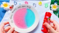 无硼砂自制糖果史莱姆, 不用色素也能做出彩色史莱姆水晶泥