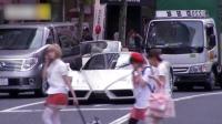 日本原宿街头! 法拉利飙车, 这动力插上翅膀都能飞!