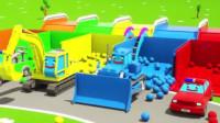 汽车总动员: 挖掘机、卡车、警车、拖拉机在海洋球池寻找不同颜色和不同形状的积木