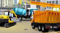 儿童工程车工作视频: 挖掘机、卡车、吊车、水泥搅拌车共同建造一座喷泉