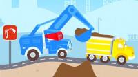 永哥玩游戏】超级挖掘机38 超级卡车 挖掘机推土机运输车 汽车总动员.