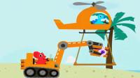 恐龙挖掘机2爪子挖掘机叉车装载车工程车总动员小三角龙开挖掘机沙滩工作陌上千雨解说