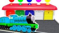 托马斯小火车装载工程车开出车库