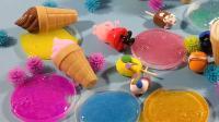 6种水果色系水晶泥史莱姆开盖, 像色彩缤纷果冻一样好玩 棉花糖和云朵妈妈 超级飞侠 蓝精灵 海底小纵队