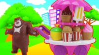 熊大雪糕车买冰淇淋爆米花汉堡包, 熊出没玩具
