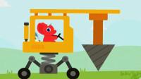 恐龙挖掘机2 爪子挖掘机装载车翻斗车工程车总动员 超级英雄探险寻宝 陌上千雨解说