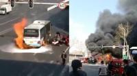 哈尔滨一公交车起火爆燃 数十乘客逃生