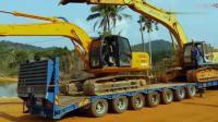 这司机会玩, 一台拖车, 同时拉两台挖掘机, 拖车站的真稳