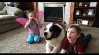 宝宝学狗狗唱歌的画面太好笑了, 唱得还挺好的