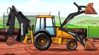挖掘机动画片挖土机玩具视频 儿童遥控挖掘机大卡车视频表演