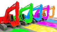 挖掘机和卡车工作视频 儿童工程车染色表演亲子游戏