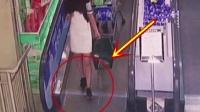 短裙女子刚要走下电梯, 意外的发生总是不期而至!