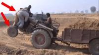 印度三哥这样开拖拉机, 简直就是不要命, 我彻底服了