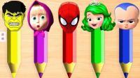 色彩铅笔超级搭配超级英雄色彩英语儿童英语少儿英语ABC